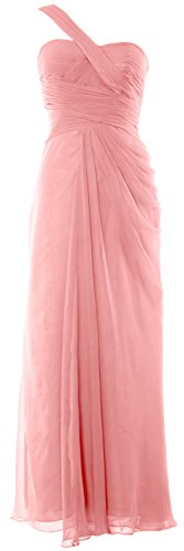 MACloth Women One Shoulder Long Evening Gown Wedding Party Formal Prom Dress Blush Pink