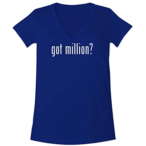 The Town Butler got Million? - A Soft & Comfortable Women's V-Neck T-Shirt, Blue, Large