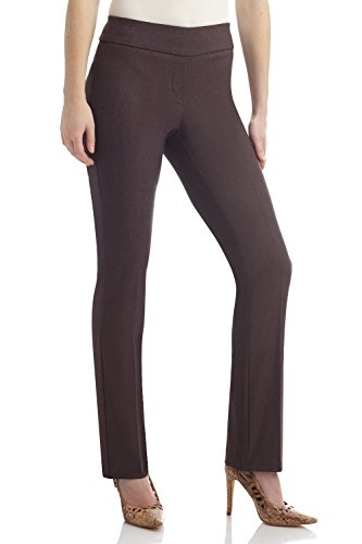 REKUCCI Women's Ease In To Comfort Straight Leg Pant With Tummy Control (8,Brown (Brown Career Pant)