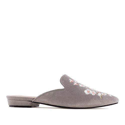 Andres Machado AM5249.Zapato Destalonado Bordado Flores.Mujer.Tallas Grandes. 42/45. Gris