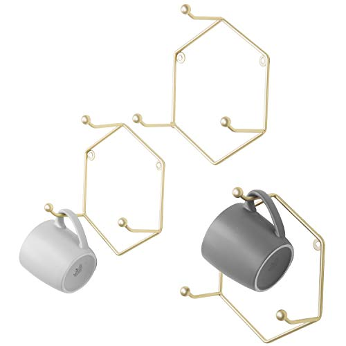 - MyGift Modern Brass Metal Geometric Hexagon Hook Rack, Set of 3