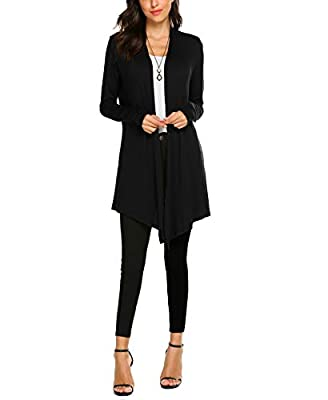 OURS Women's Long Open Front Drape Lightweight Long Sleeve Cardigan Sweater