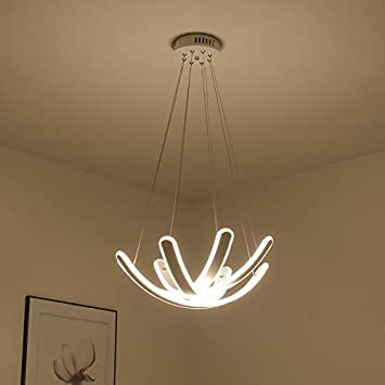 Modern Adjustable Pendent Light Chandelier Flush Mount LED Ceiling Lighting Fixture Lotus Flower Lamp 20in Warm White for Living Room Dining Room