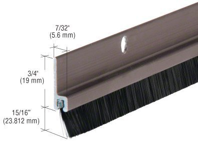 "Dark Bronze Anodized and Nylon Door 15/16"" Bristle Weatherstrip - 48 in long by C.R. Laurence"
