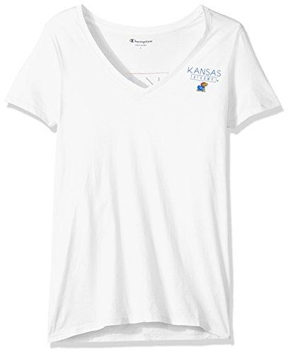 Champion NCAA Kansas Jayhawks Women's University V-Neck Front/Back, Small, White - Kansas Jayhawks Gear
