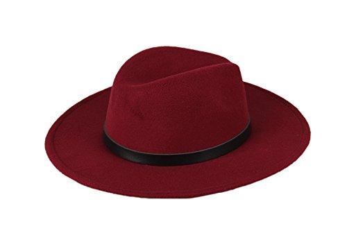 dd7653e27e1a5d Dantiya Women'/s Wide Brim Wool Fedora Panama Hat with Belt ...