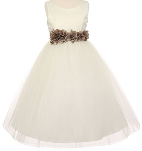 Big Girls' Ivory Elegant Satin Tulle Ribbon Sash Flowers Girls Dresses Moca 8 ()