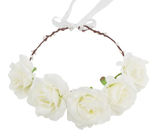 White Rose Headband (Love Sweety Rose Flower Hair Wreath Floral Crown Garland Halo Headband (White))