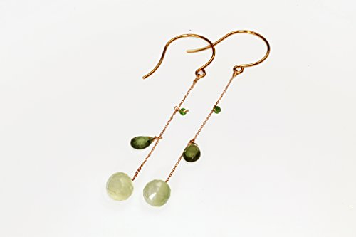 Long dangling earrings with aquamarine peridot and emerald semi precious stones on gold colored chain