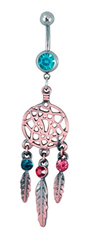 Dream Catcher 3 Wings Dangle Surgical Steel Belly Button Ring Colorful With Cubic Zirconia Stone (Light Bule)
