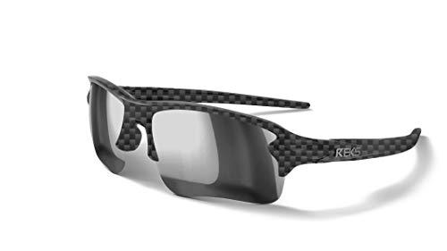 REKS Unbreakable SLING-BLADE Sunglasses (NEW 2019 Model) (Carbon, Silver Mirror Polarized)