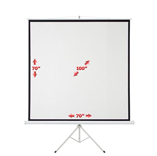 Screen Projector Portable 100'' Tripod Projection Stand Wall Square 70 x 70 Inch Office Meeting by Sister123u