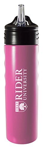 Stainless Steel Grip Water Bottle with Straw-Pink Rider University-24oz Inc LXG