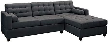 Benjara Benzara Polyfiber Linen Fabric Sectional Sofa