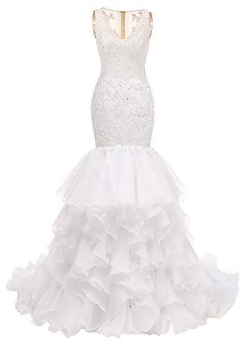 Mermaid Organza Wedding Dress for Bride Lace Applique VNeck Ruffles Bridal Gown S013 4White