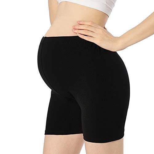 QingWan Women Short Pregnancy Leggings Active Yoga Maternity Shorts Pants Over The Belly Black