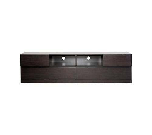 """Baxton Studios Lovato Dark Brown Modern TV Stand - Dark brown Dimensions (overall): 18.8""""H x 70.8""""W x 19.3""""D Dimensions (central storage x(2)): 6.5""""H x 17""""W x 18""""D - tv-stands, living-room-furniture, living-room - 313WTz3lV%2BL -"""