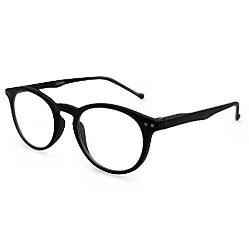 The Classic Flexible Readers, Super Comfortable Lightweight Reading Glasses, Unisex Round Full Frame Reading Glasses + 3.25 Black (Hard Shell Eyeglass Case with Cleaning Cloth - Discount Frames For Eyeglass Women