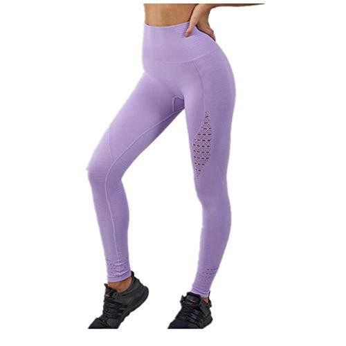 Verve Yoga Pants - yanluzz Seamless Yoga Pants Female High Waist Stitching Hollow Sports Pants Women Running Training Fitness Gym Leggings Pink L