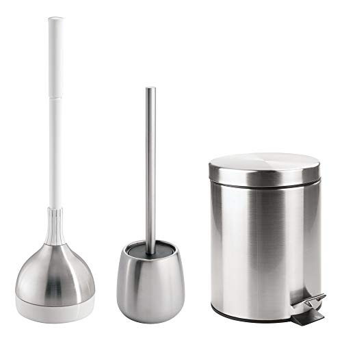 (mDesign Bathroom Accessory Set, Plunger with Holder, Bowl Brush with Holder, Step Trash Can - Set of 3, Brushed Stainless Steel)