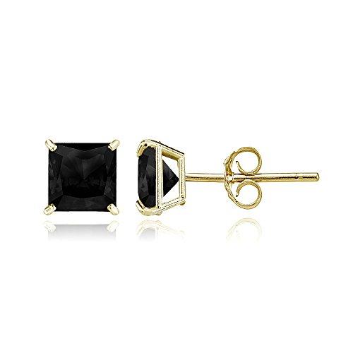 Bria Lou 14k Yellow Gold Ebony Sapphire Gemstone 5mm Square-Cut Solitaire Stud Earrings (Ebony Stone)