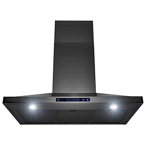 AKDY 36″ Wall Mount Black Brushed Stainless Steel Touch Panel Kitchen Range Hood Cooking Fan