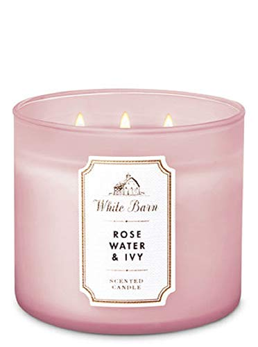 White Barn by Bath & Body Works 3-Wick Candle in Rose Water & Ivy (2019) -