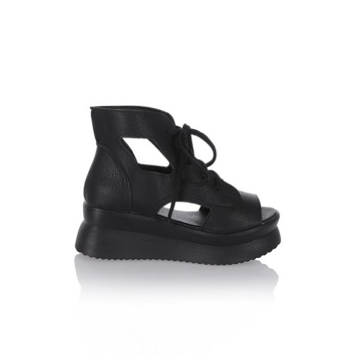 BalaMasa Womens Lace Up Solid Kitten Heels Sandal Shoes Black