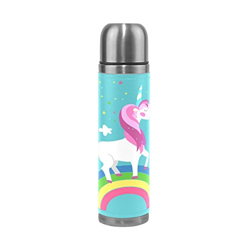 ALAZA Unicorn Rainbow Double Wall Water Bottle Stainless Ste