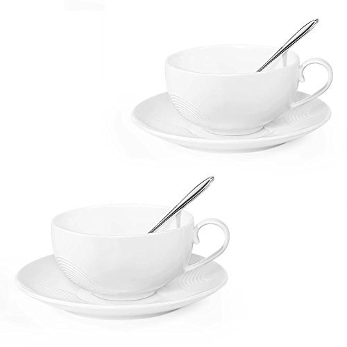 Tea Cups and Saucers Sets, Set of 2, [7.8 OZ(230 ML) Tea Cup], 77L Ceramic Espresso Latte Coffee Cups and Saucers Set with Mixing Spoon - Coffee Cups and Saucers Set for Home and Office, White
