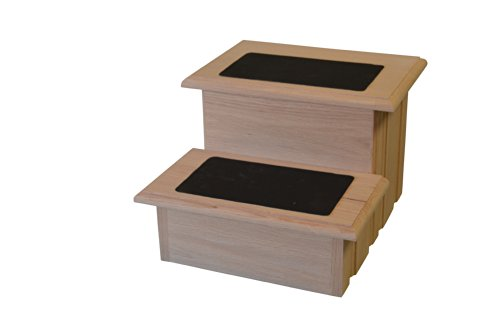 Unfinished Solid Oak Step Stool With Solid Tread with Non Slip Surface Included 11 ½'' Tall by Premier Pet Steps