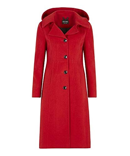 Anastasia-Red Womens Winter Cashmere Hooded Coat Size 12