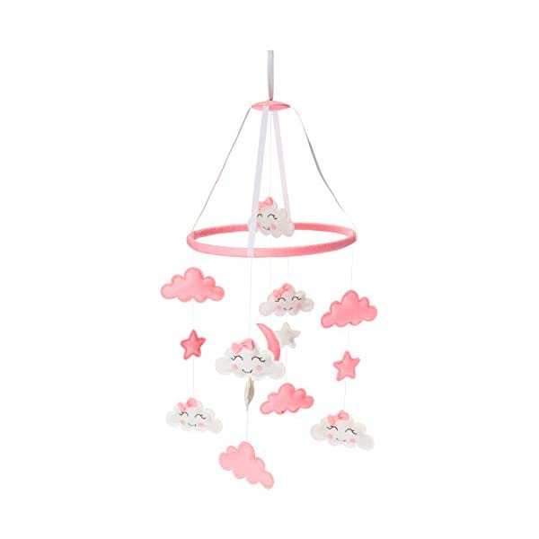 Baby Mobile for Crib, Hanging Toys, Nursery Decor for Girls White and Pink Room Decorations, Clouds, Moons and Stars Safe, Non-Toxic, Gifts for Newborn, Great for Baby Shower