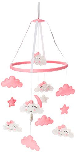 Piccolin Baby Crib Mobile, Hanging Toys, Nursery Decor for Girls White and Pink Room Decorations, Clouds, Moons and Stars Safe, Non-Toxic, Crib Mobile for Newborn, Baby Shower Present