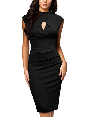 Style Pencil Dress - Miusol Women's Business Slim Style Ruffle Work Pencil Dress,X-Large,Black