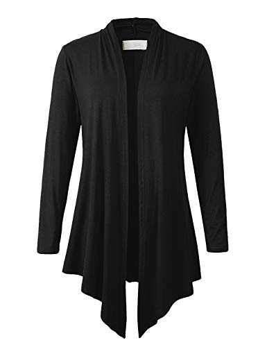 Eanklosco Women Open Front Cardigan Plus Size Drape Long Sleeve Coat (Black, L) ()