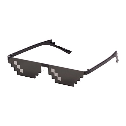 CENWOCON Thug Life Stance Sunglasses 8-Bit Pixelated Glasses Deal With It Glasses Novelty Gag Gift for Gamer Sunglasses Single-Row-Pixel - It Deal Bit With Sunglasses 8