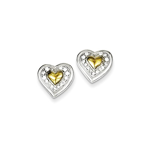 ICE CARATS 925 Sterling Silver Vermeil Cubic Zirconia Cz Heart Post Stud Ball Button Earrings Love Fine Jewelry Ideal Gifts For Women Gift Set From Heart (Vermeil Button)