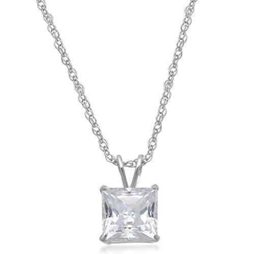 Jewelili 10kt White Gold 6mm Princess Cut Swarovski Zirconia Solitaire Pendant Necklace (1 cttw), 18