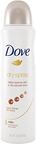 Dove Dry Spray Antiperspirant, Clear Tone Skin Renew 3.8 oz (Pack of 8)