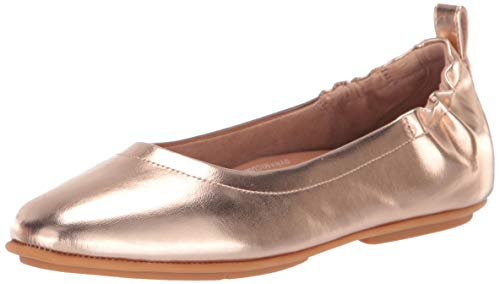 (FitFlop Women's Allegro Metallic Ballerinas Ballet Flat, Rose Gold, 7.5 M US)