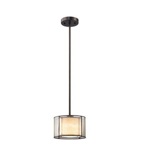 (Pendants 1 Light with Tiffany Bronze Finish Seedy Glass with Amber Art Glass Inner Drum Medium Base 8 inch 60 Watts - World of Lamp)