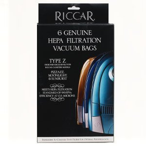 Genuine Riccar type Z HEPA Filtration Vacuum Bags for Sunburst, Moonlight, Pizzaz models (6-pack) part # RZH-6