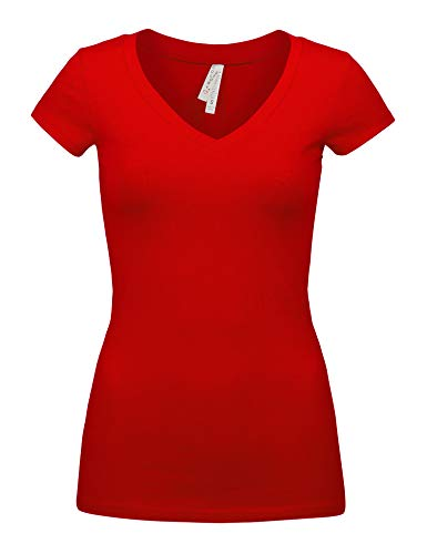 Womens Basic Bright RED Colors Slim Fit V-Neck Top (1001-BRIGHT RED-M)
