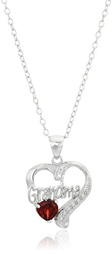 Sterling SilverGrandma Heart with Diamond Accent Pendant Necklace