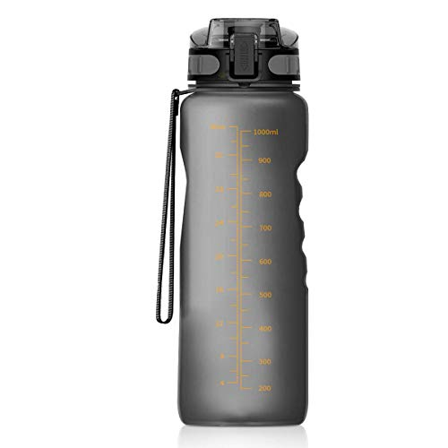 Number-One Sports Water Bottle 36oz/1000ml Leakproof Motivational Water Bottle Fruit Infuser, BPA Free with Filter & Lock Lid Drink Bottles for Outdoor, Camping, Cycling, Hiking, Fitness, Yoga-Grey