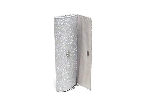 Barachini borsa a mano, in tessuto glitterato, colore argento E7102