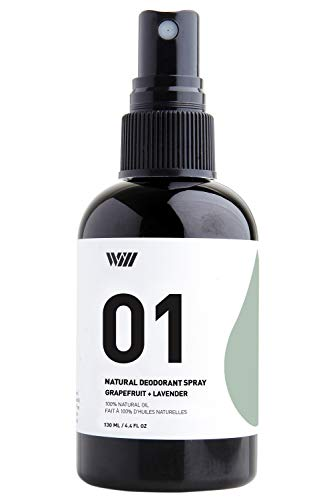 Way Of Will 01 All Natural Deodorant Spray Infused with Essential Oil. Refreshing Scent for Men and Women Leaves no Stain easy to Use. Spray Mist provides 24 Hour Protection (Grapefruit + Lavender)