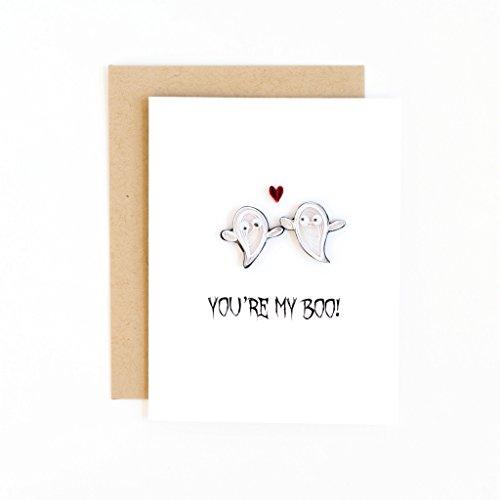 funny halloween card - cute halloween card - handmade halloween greeting card - you're my boo card- anniversary card - ghost love card]()