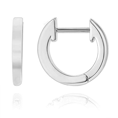 (PAVOI 14K White Gold Plated Cuff Earrings Huggie Stud | Small Hoop Earrings for Women)
